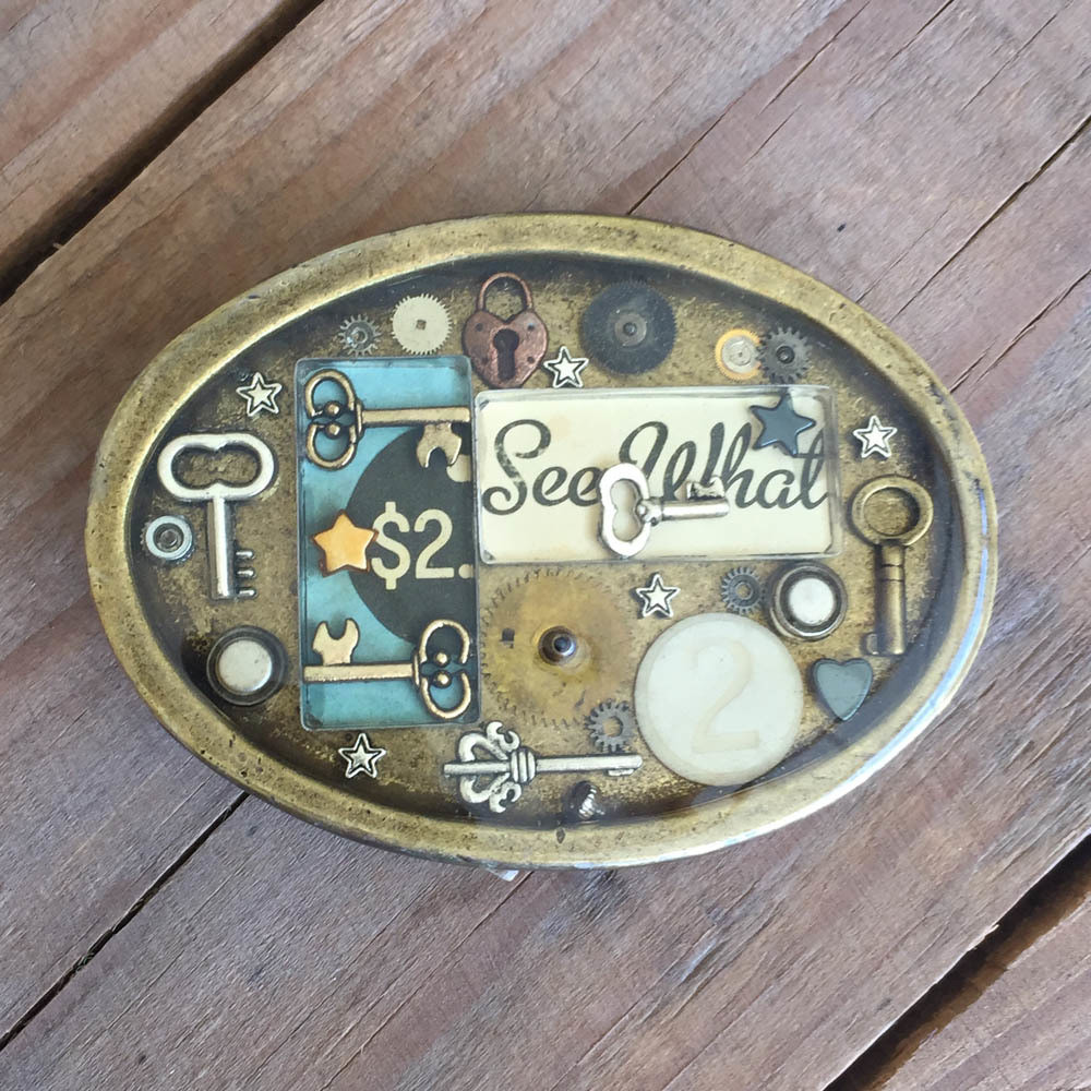 Steampunk Oval Belt Buckle Style B