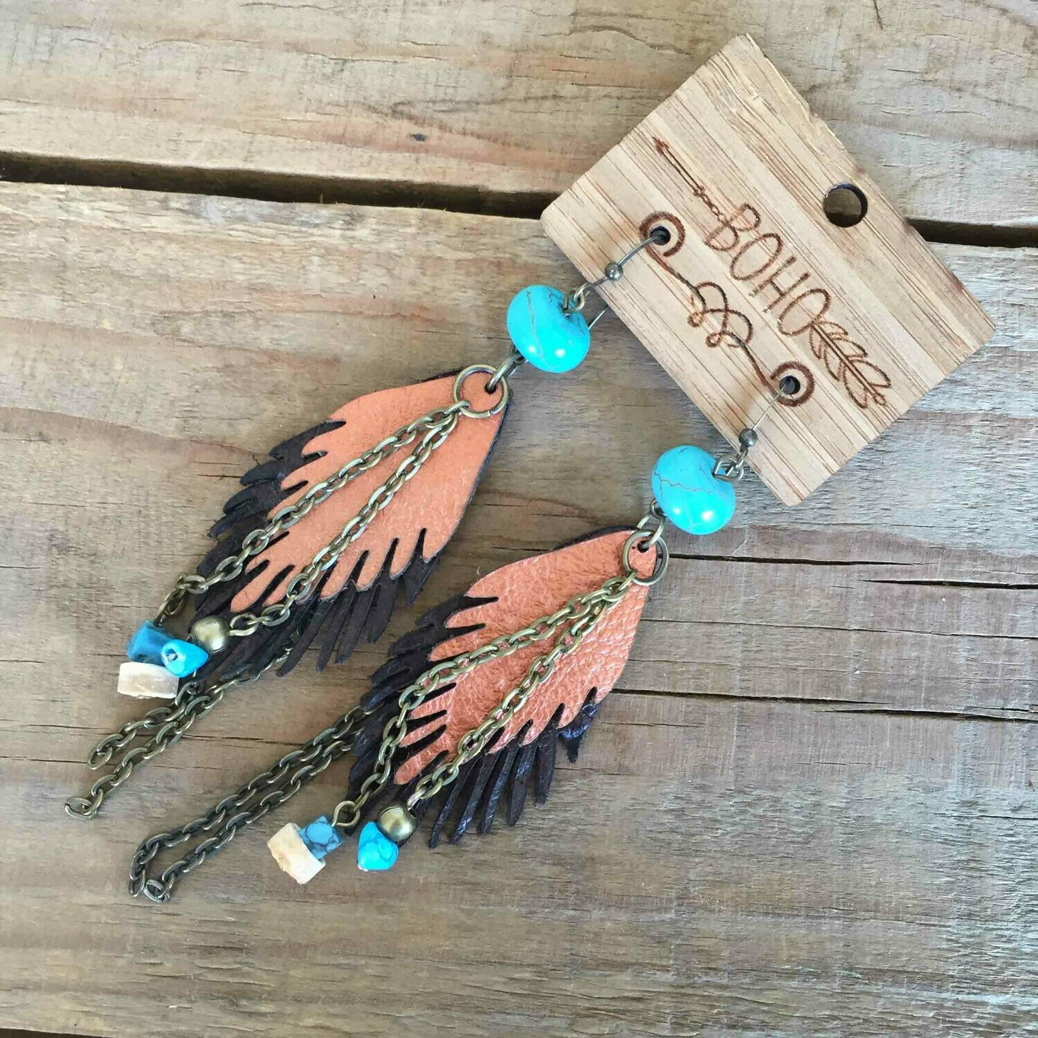 BOHO Feather Leather Earrings Style 1