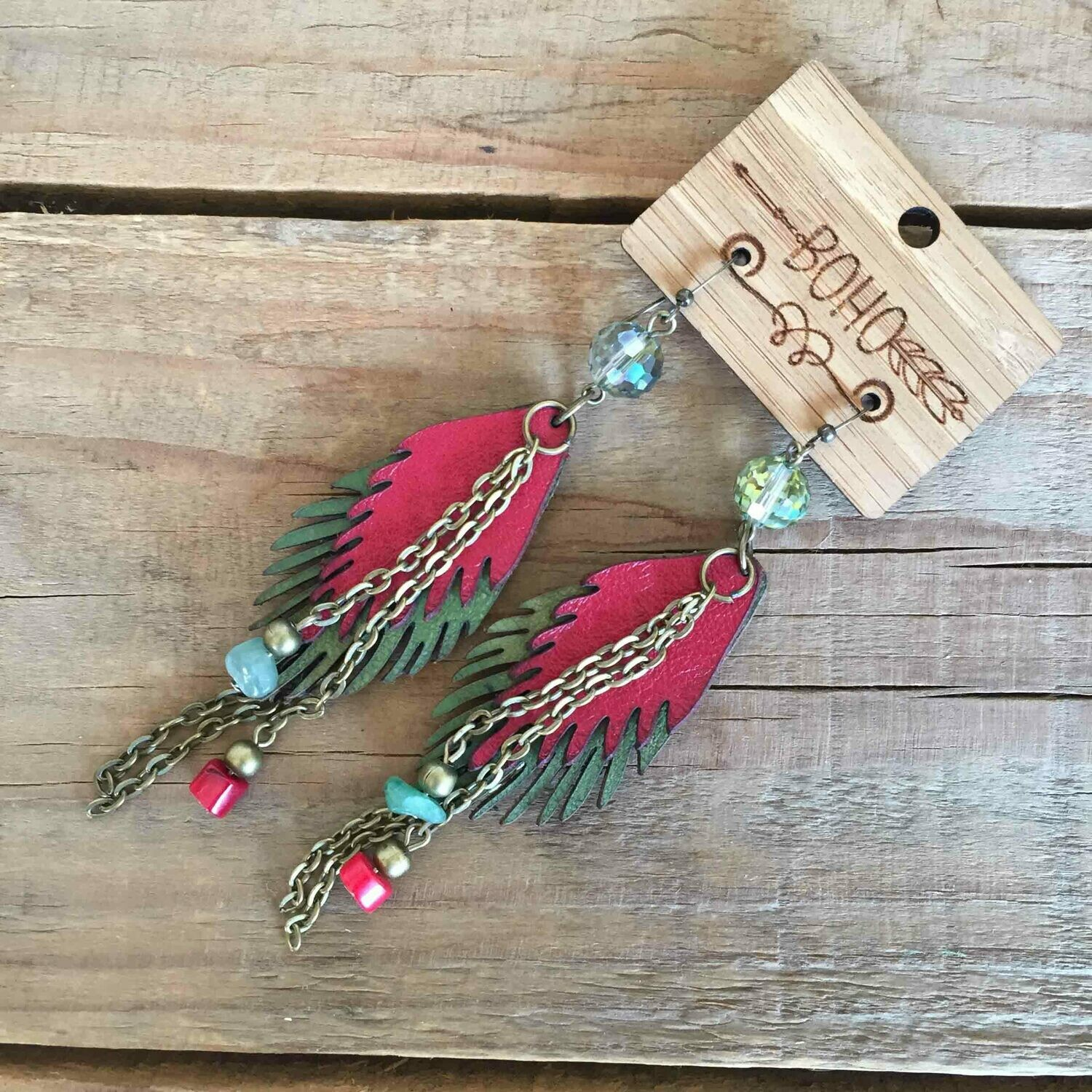 BOHO Feather Recycled Leather Earrings - Style 3