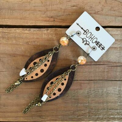 BOHO Seed Pod Leather Earrings Style 1
