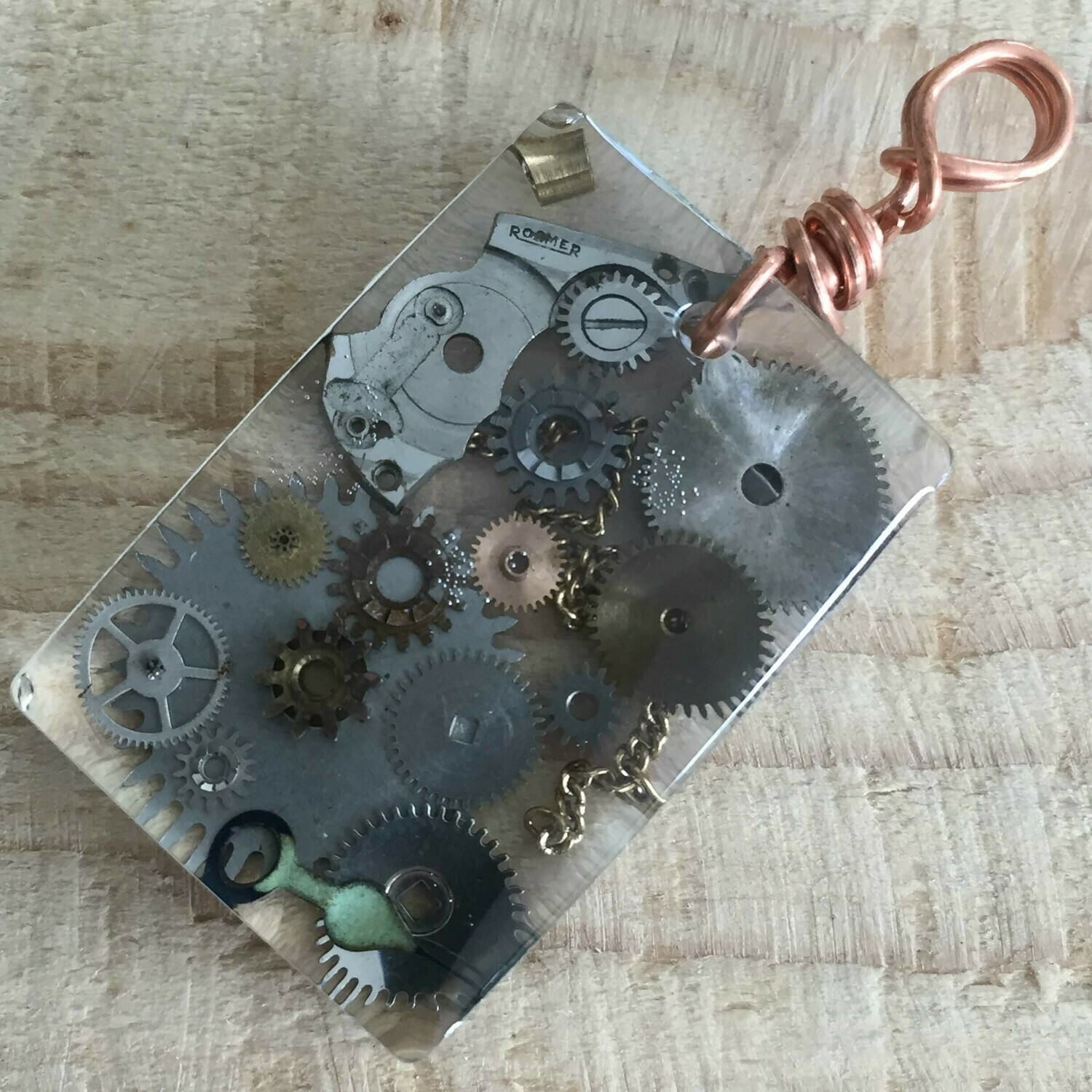 Steampunk Rectangular Resin Pendant Necklace