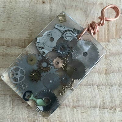 Steampunk Rectangular Resin Pendant