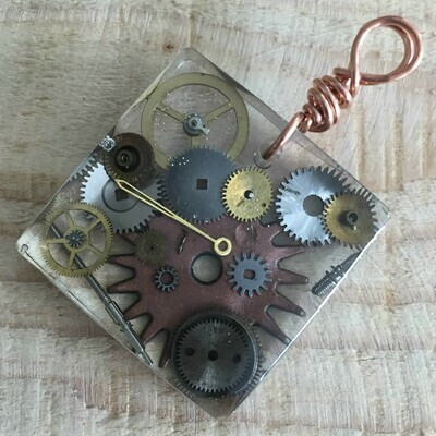 Steampunk Square Resin Pendant