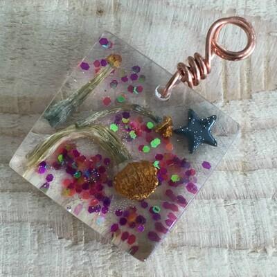 Magical Glitter Square Resin Pendant