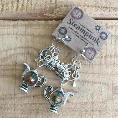 Steampunk Alice in Wonderland - Antique Silver Crystal Teapot Earrings
