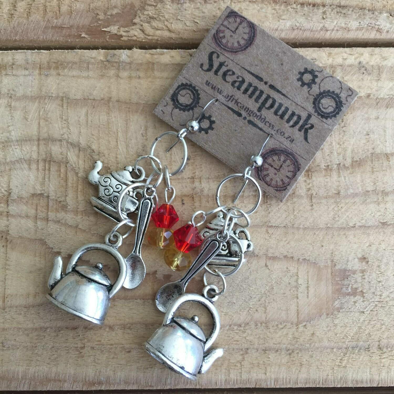 Alice in Wonderland - Antique Silver Teapot Earrings