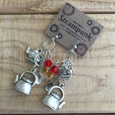 Steampunk Alice in Wonderland - Antique Silver Teapot Earrings