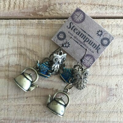 Steampunk Alice in Wonderland - Antique Brass Teapot Earrings