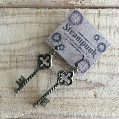 Steampunk Alice in Wonderland - Antique Brass Key Earrings