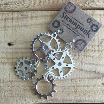 Steampunk Vintage Gear Earrings - Antique Silver