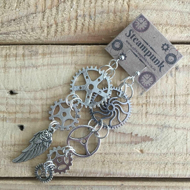 Steampunk Vintage Gear Earrings - Antique Silver