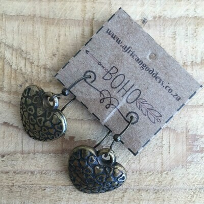 BOHO Antique Brass Heart Earrings