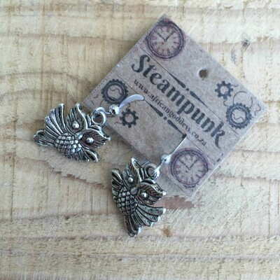 Steampunk Antique Silver - Owl Earrings