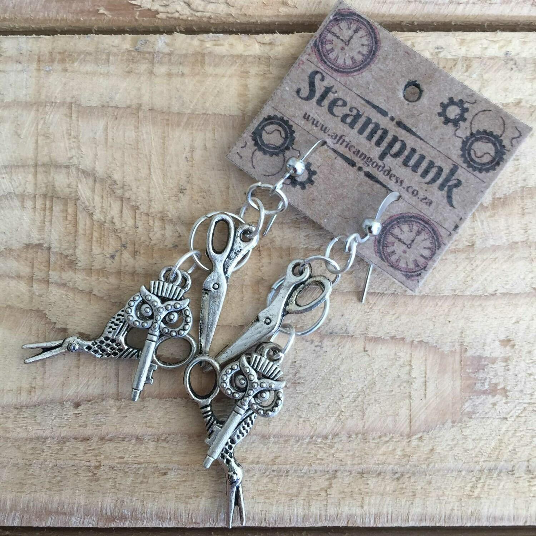 Antique Silver - Scissor Earrings