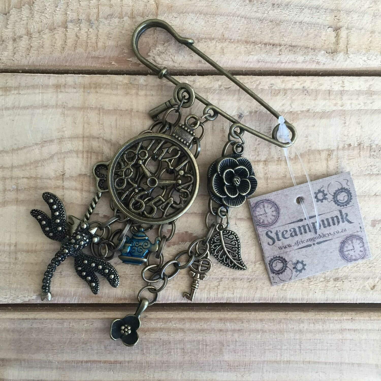 Steampunk Jacket Pin - Antique Brass