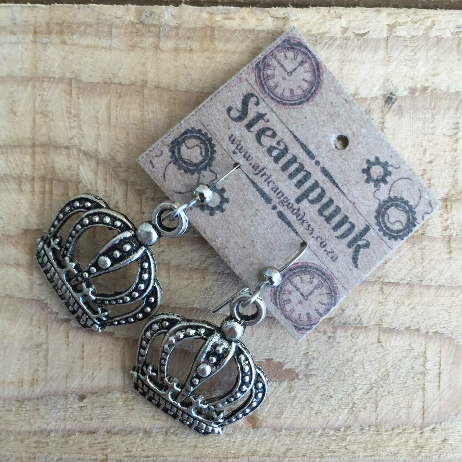 Steampunk Alice in Wonderland - Antique Silver Crown Earrings