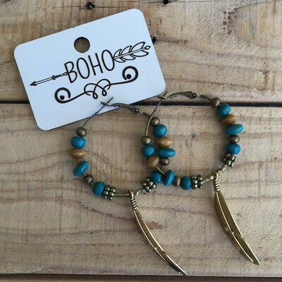 BOHO Hoop Earring with Brass Feather