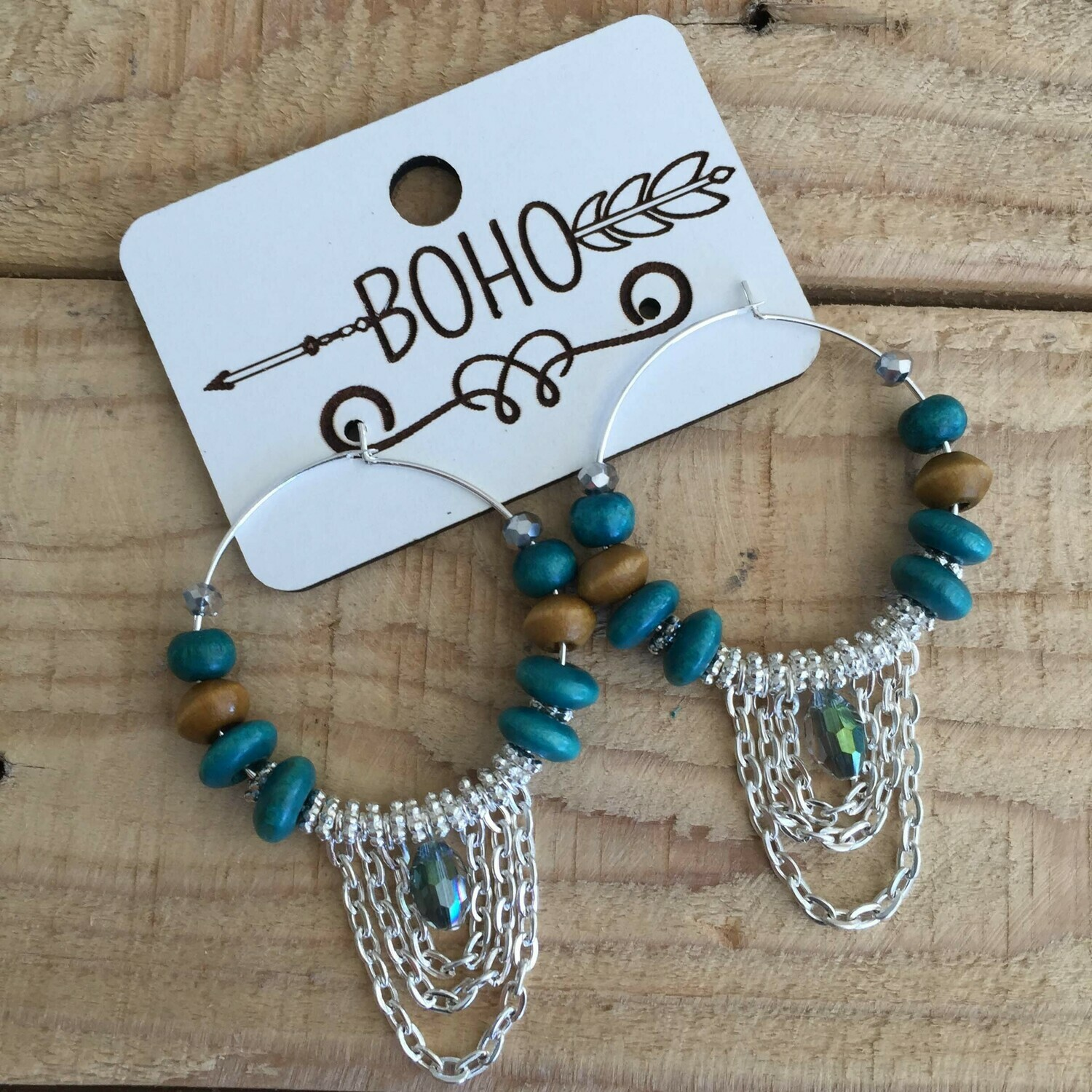 BOHO Silver Hoop Earring with Crystal Glass & Silver Chain