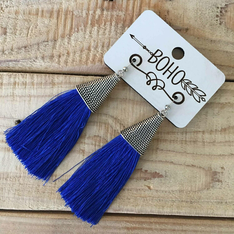 BOHO Tassel Earrings - Royal Blue