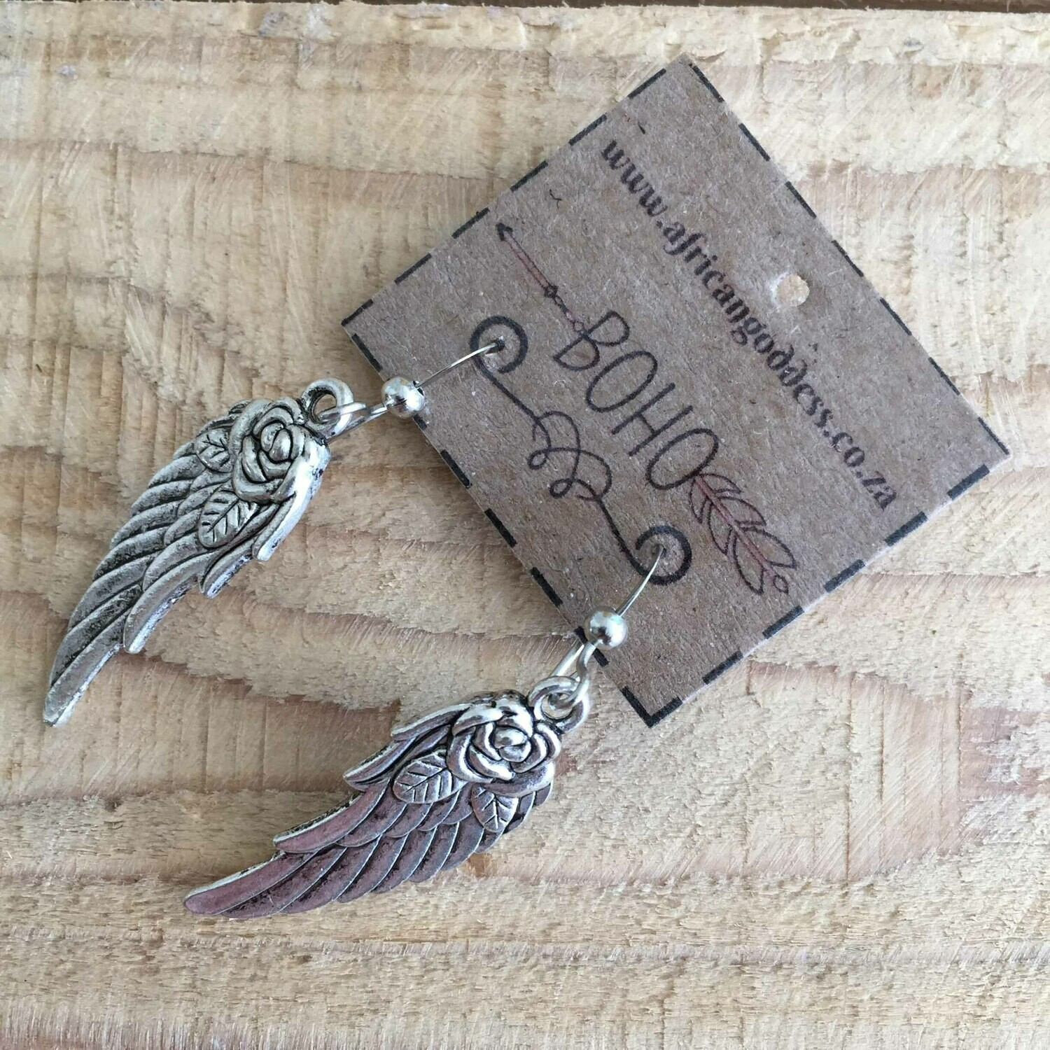 BOHO Antique Silver Rose Detailed Wing Earrings