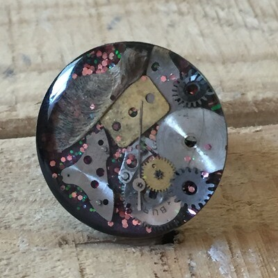 Steampunk Pink & Green Glitter Round Ring