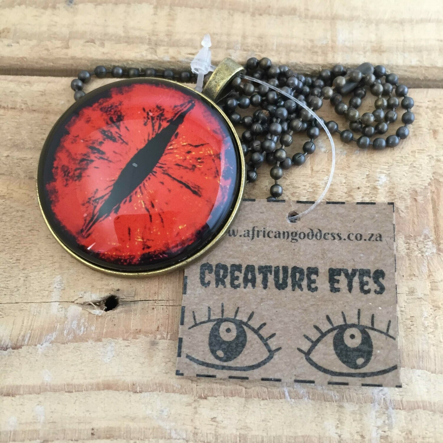 Creature Eye 35mm Pendant Necklace - Red