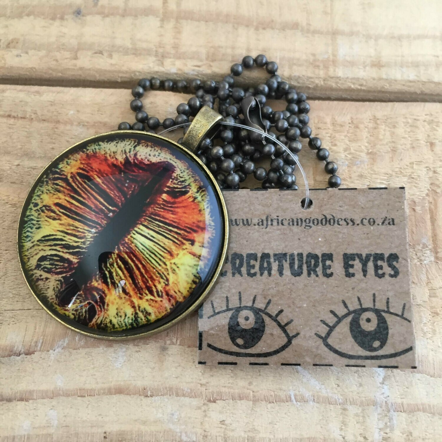 Creature Eye 35mm Pendant Necklace - Yellow 1