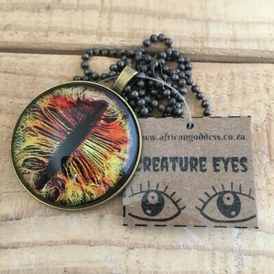 Creature Eye 35mm Pendant Necklace - Yellow 1