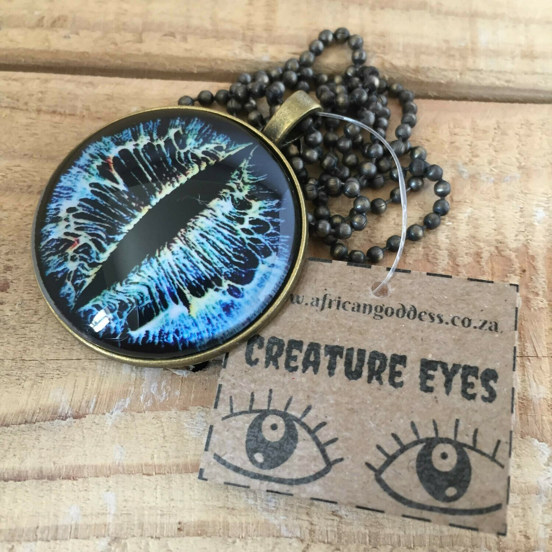 Creature Eye 35mm Pendant Necklace - Blue