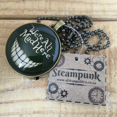 Steampunk We're All Mad Here 35mm Pendant Necklace