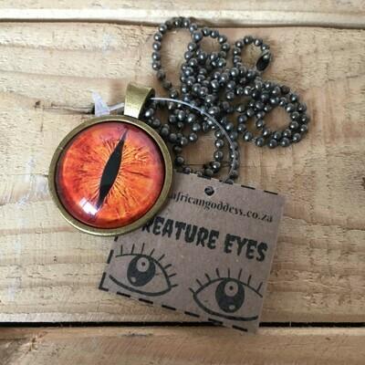 Creature Eye 25mm Pendant Necklace - Yellow