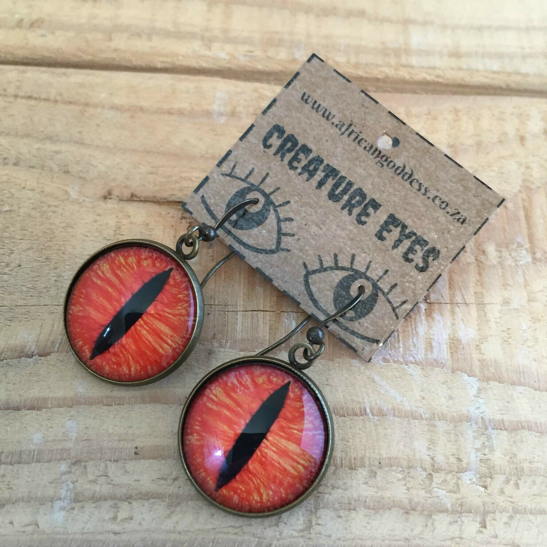 Creature Eye 18mm Dangle Earrings - Orange
