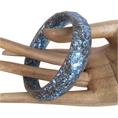 Orgonite Bangle Bracelet Blue - Clear Quartz