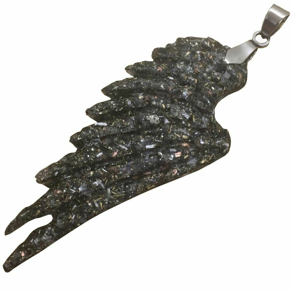 Orgonite Angel Wing Pendant Necklace - Stainless Steel - Black Tourmaline