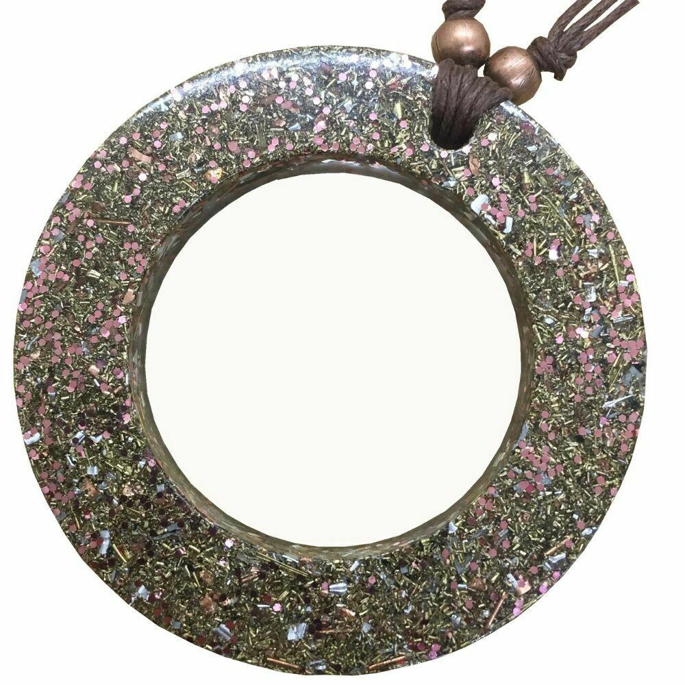 Orgonite Circle Pendant Necklace Pink - Clear Quartz