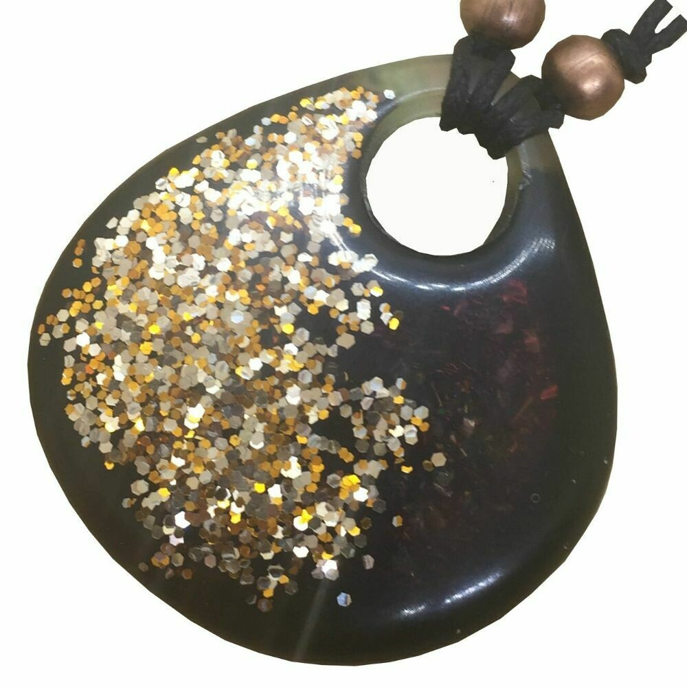Orgonite Large Teardrop Pendant Necklace - Gold Tone Glitter & Developing Ink - Clear Quartz