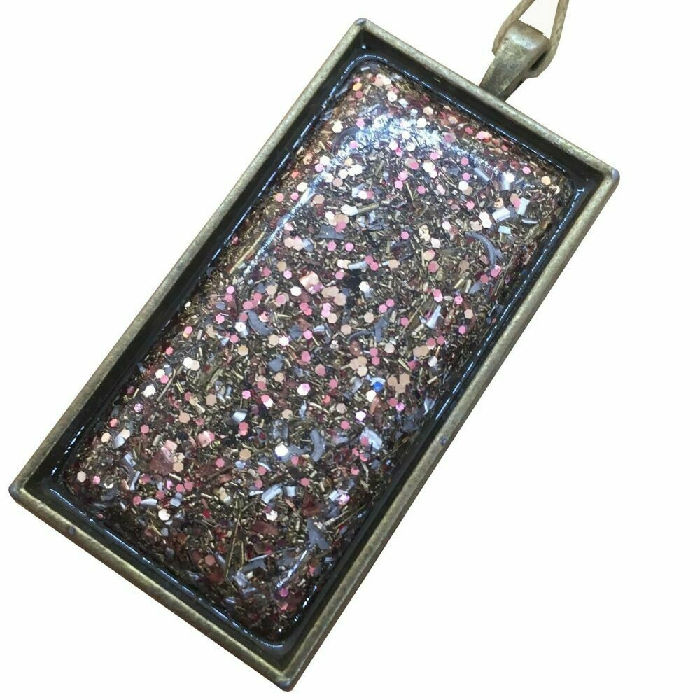 Orgonite Rectangular Brass Base Pendant Necklace Pink - Clear Quartz