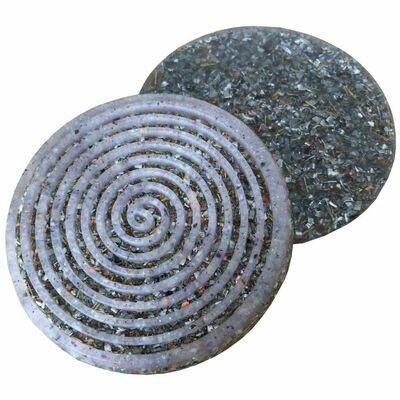 Orgonite Spiral Coaster - Amethyst & Glitter