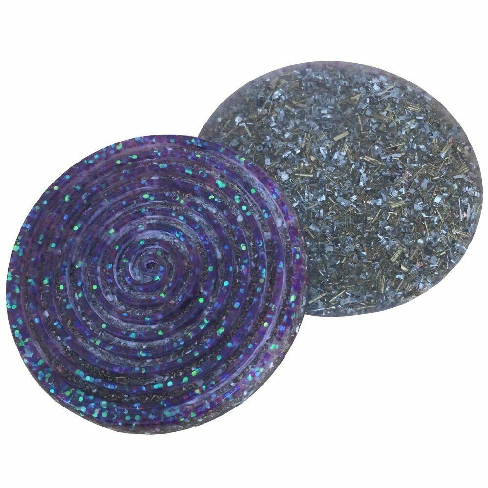 Orgonite Spiral Glitter Coaster Purple - Clear Quartz