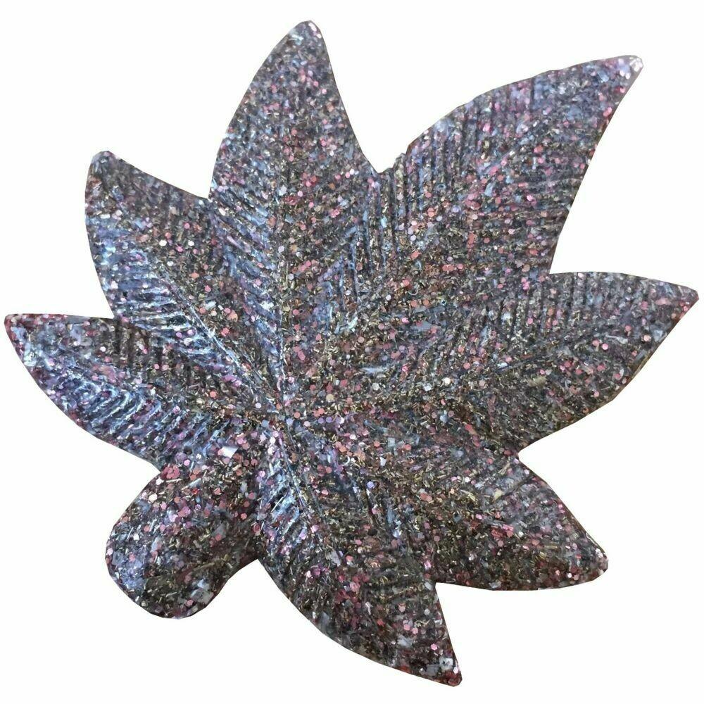 Orgonite Canna Leaf Pink Glitter - Clear Quartz