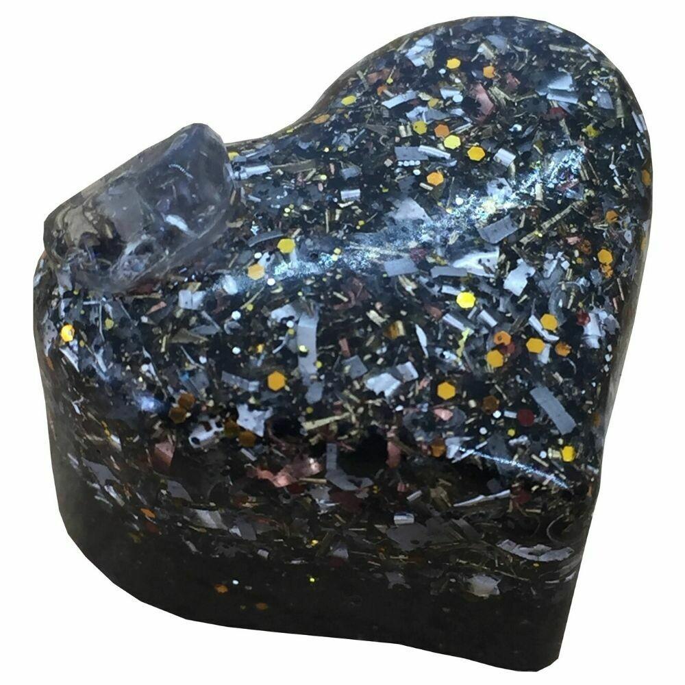 Orgonite Mini Heart Glitter - Black Tourmaline