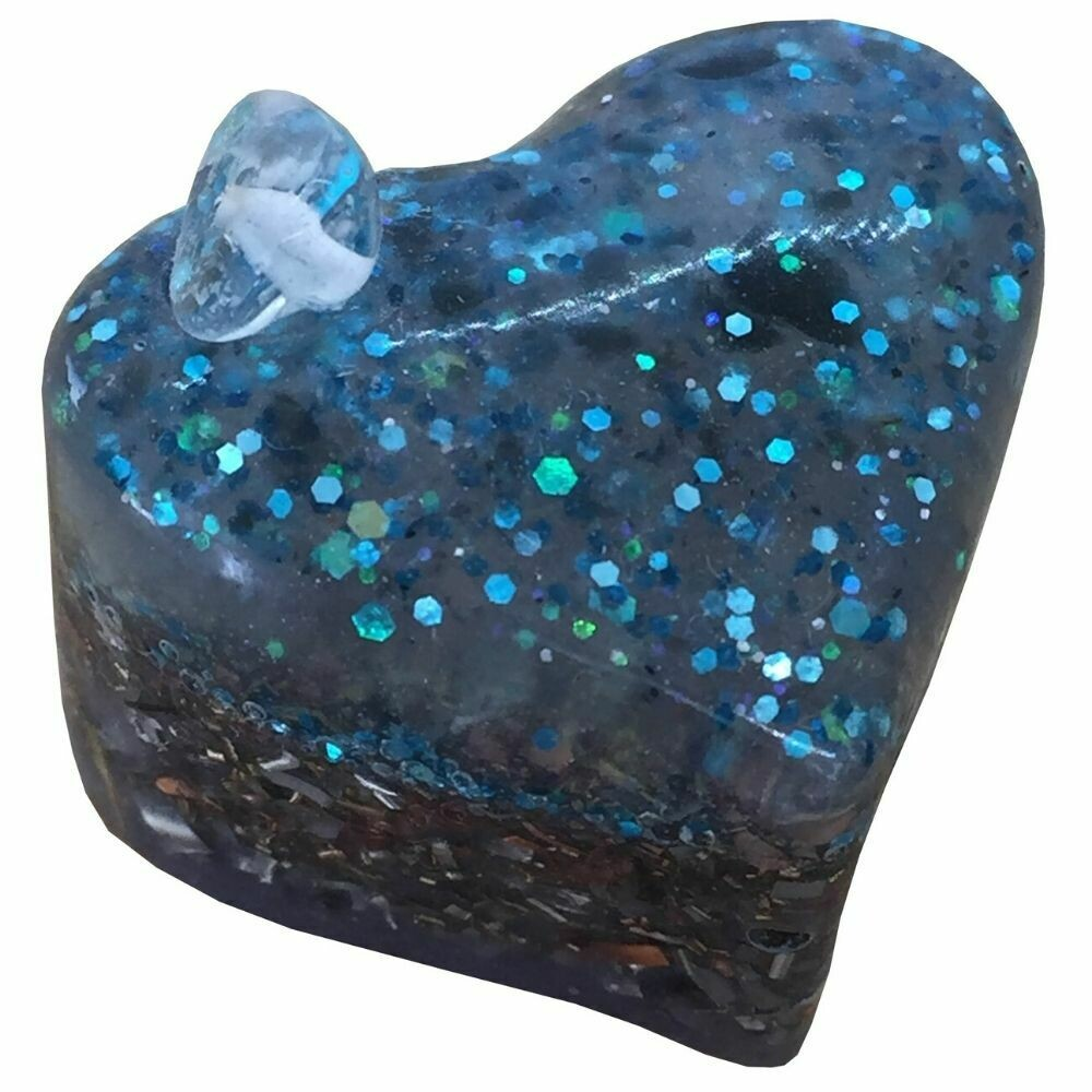 Orgonite Small Heart  - Clear Quartz & Blue Glitter