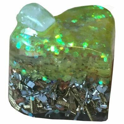 Orgonite - Mini Heart -  Clear with Yellow Glitter