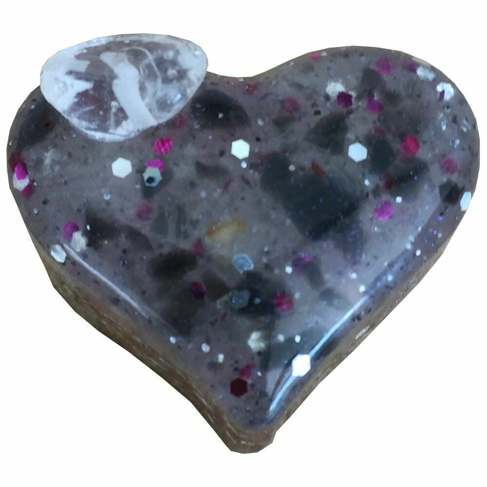 Orgonite Small Heart - Clear Quartz & Glitter(DarkPink)