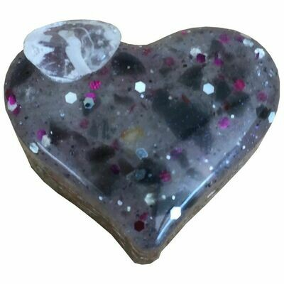 Orgonite - Mini Heart -  Iridescent & Purple Glitter