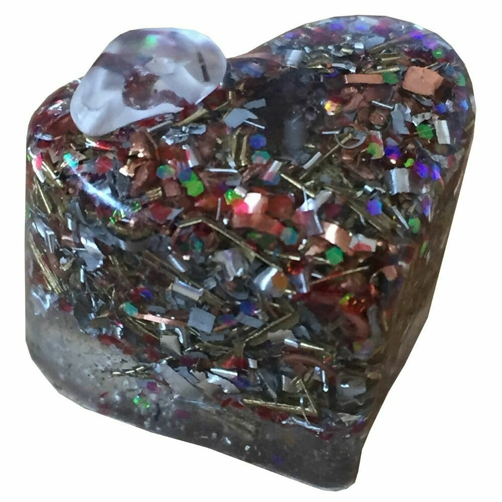 Orgonite Mini Heart Red Glitter - Clear Quartz