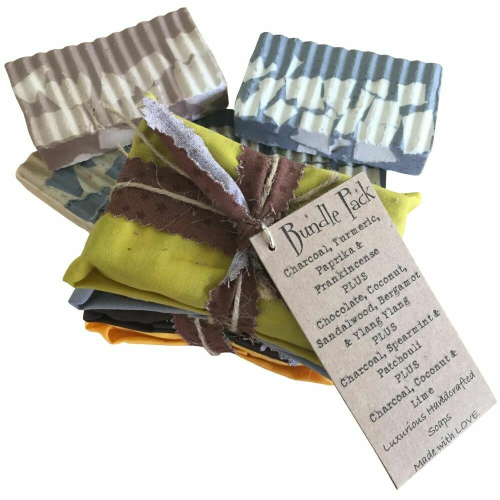 4 Bundle Pack: Charcoal, Turmeric, Paprika & Frankincense | Chocolate, Coconut, Sandalwood, Bergamot & Ylang Ylang | Charcoal, Spearmint & Patchouli | Charcoal, Coconut & Lime - Handcrafted Vegan Soap