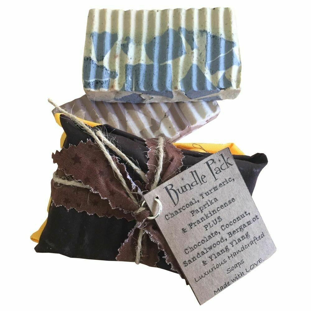 2 Bundle Pack: Charcoal, Turmeric, Paprika & Frankincense | Chocolate, Coconut Sandalwood, Bergamot & Ylang Ylang - Handcrafted Vegan Soap