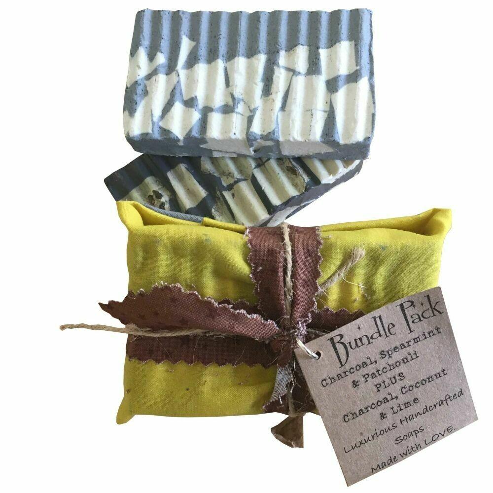 2 Bundle Pack: Charcoal, Spearmint & Patchouli | Charcoal, Coconut & Lime - Handcrafted Vegan Soap