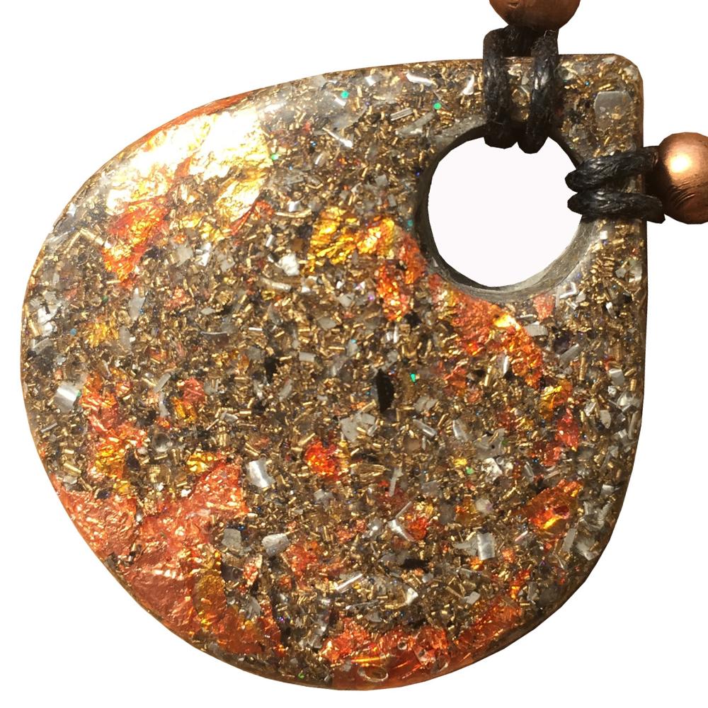 Orgonite Large Teardrop Pendant Necklace  - Amethyst